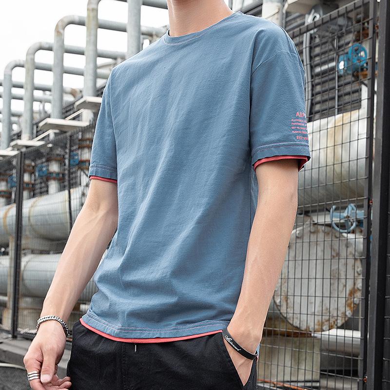 限时抢购纯棉男士短袖t恤夏季潮牌简约百搭体恤夏装男生潮流ins宽松上衣服