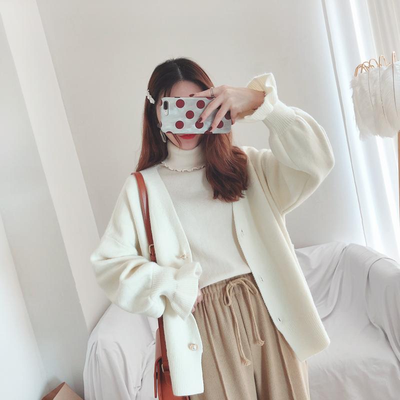 木子家:秋冬温柔厚实感~甜美百搭加厚荷叶袖针织毛衣开衫外套女