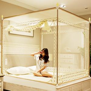 蚊帐家用1.8m床1.5米蒙古包防摔儿童新款支架坐床纹账三开门1.2米