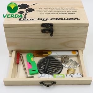 维达 韩国风实木木质针线盒针线套装缝纫手缝线 家用收纳盒针线包