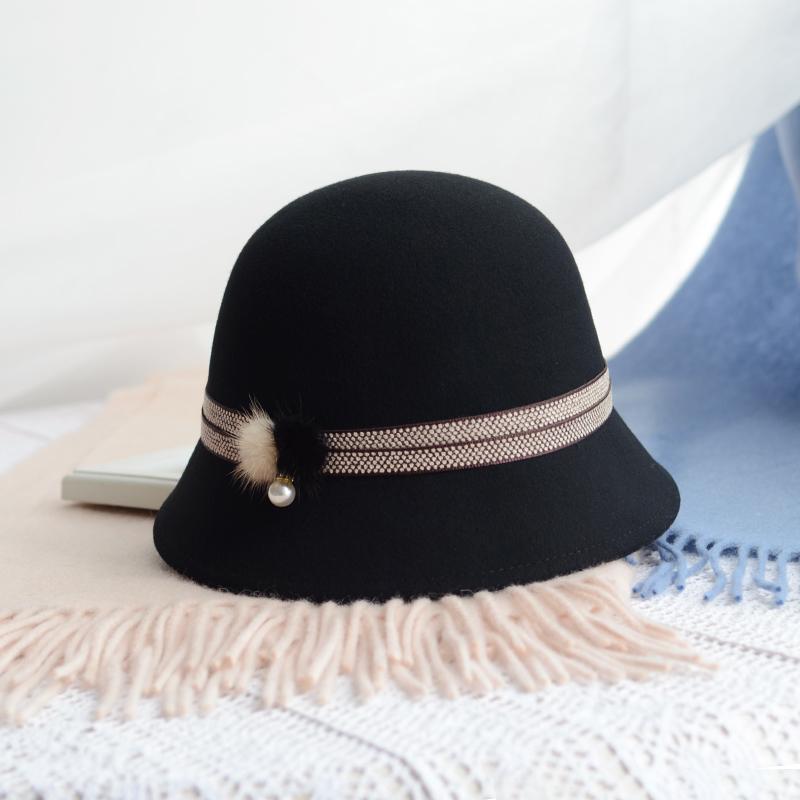 赫本毛呢帽子女冬韩版复古盆帽黑色小檐渔夫帽优雅圆顶小礼帽百搭限10000张券
