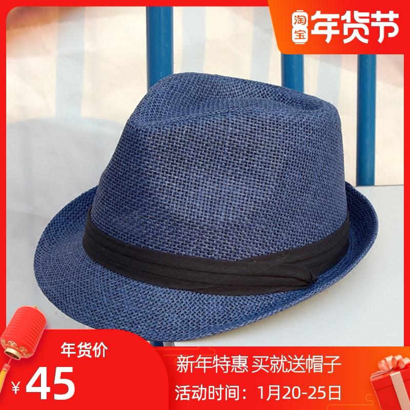 夏季男休闲户外出游遮阳草帽爵士帽