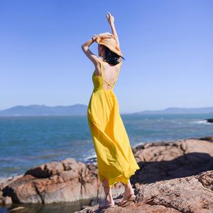 吊带长裙女夏2019新款 雪纺连衣裙 海边度假黄色沙滩裙性感露背长款