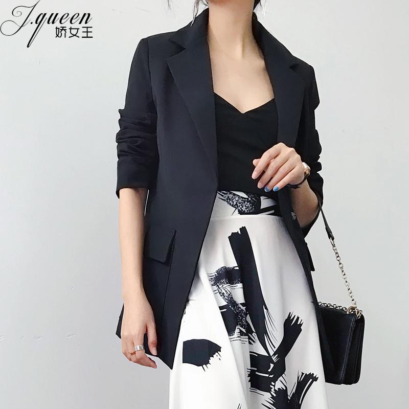黑色西装女外套2018秋季新款韩版休闲收腰显瘦中长款时尚小西服潮