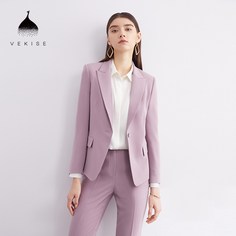 Acetate blend workplace formal suits 2021 spring and summer new long-sleeved temperament one-button suit collar jacket jacket
