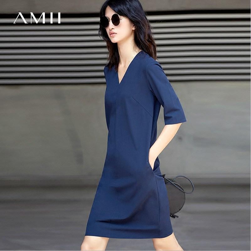 Amii旗舰店女装小个子裙休闲群运动夏装连衣裙秋裙子连身裙中长款