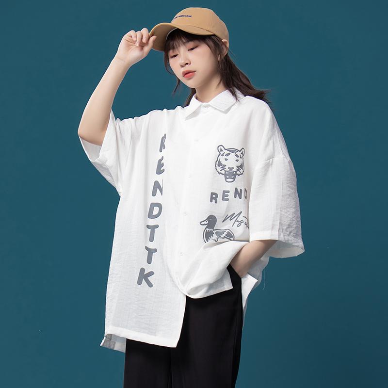 @逆光卡通条纹女宽松复古港味衬衫
