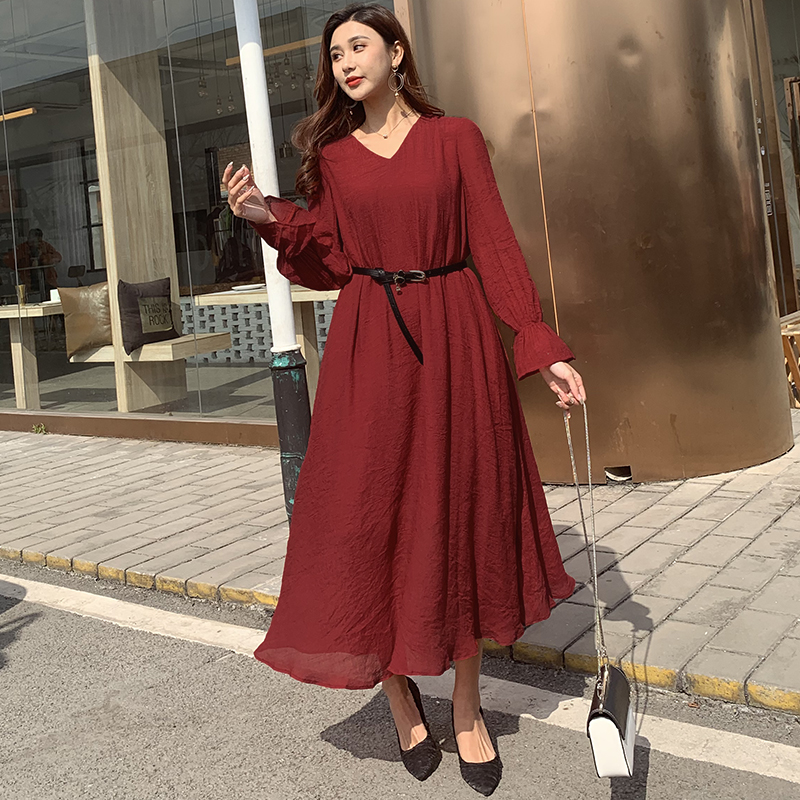 Autumn 2020 original fashion casual pure color wine red ramie dress soft loose comfortable long sleeve womens style