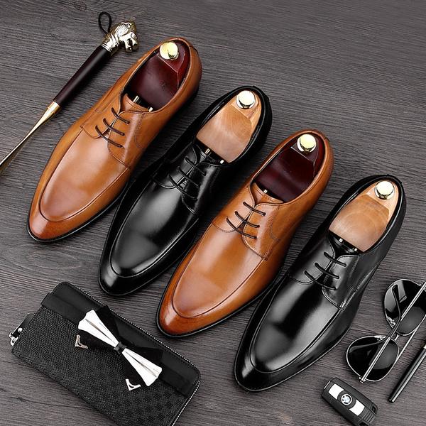 潮味男鞋商务真皮男士正装休闲皮鞋复古冬季尖头英伦帅气擦色潮鞋
