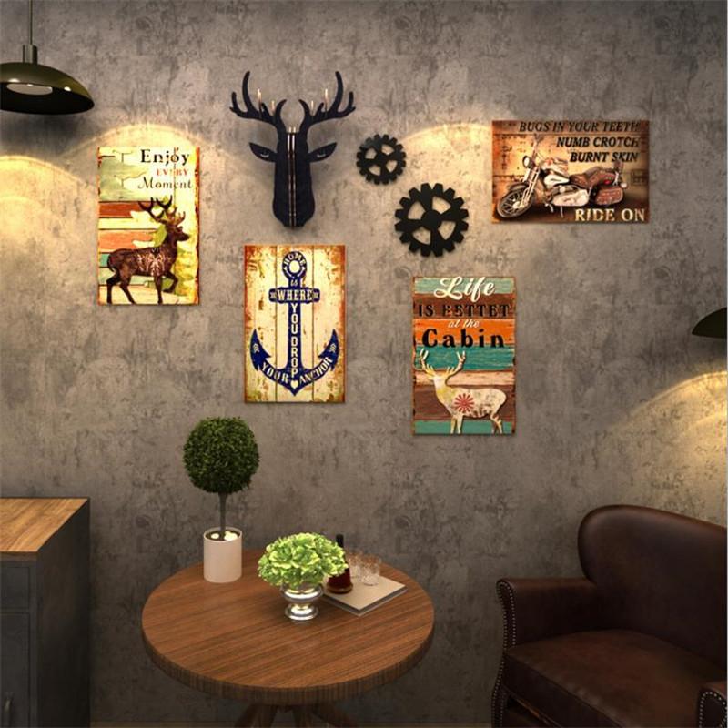 限时秒杀美发店装饰背景墙挂画复古酒吧服装店创意工业风饭店壁画客厅墙画