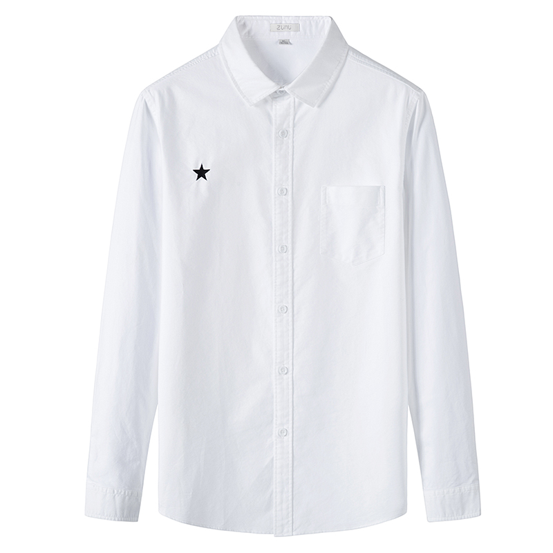 Spring and autumn new mens middle-aged and young Korean version trend repair solid color casual cotton shirt mens business casual white shirt