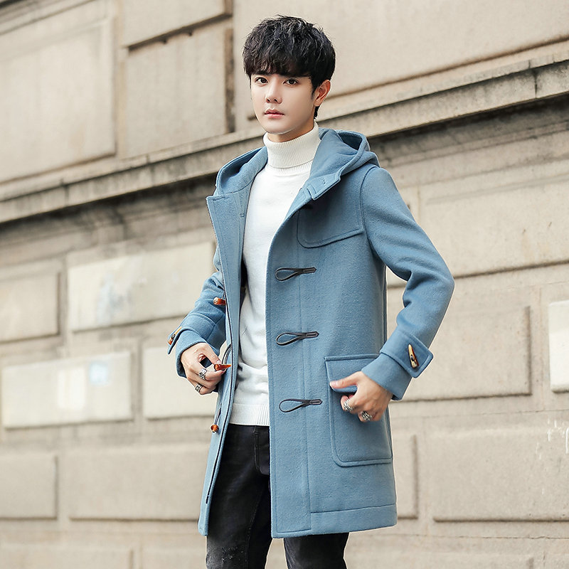 Hooded overcoat mens wool and nylon coat with hat windbreaker Korean version of slim coat ox horn button woolen clothes fashion