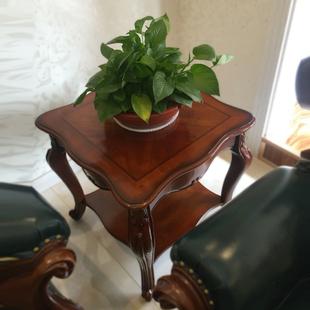 美式 角几柜实木客厅小茶几边桌正方形欧式 圆形电话桌沙发边几柜