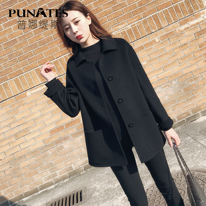 Double-faced woolen coat women 2020 autumn and winter new woolen coat mid-length high-end double-faced cashmere coat women