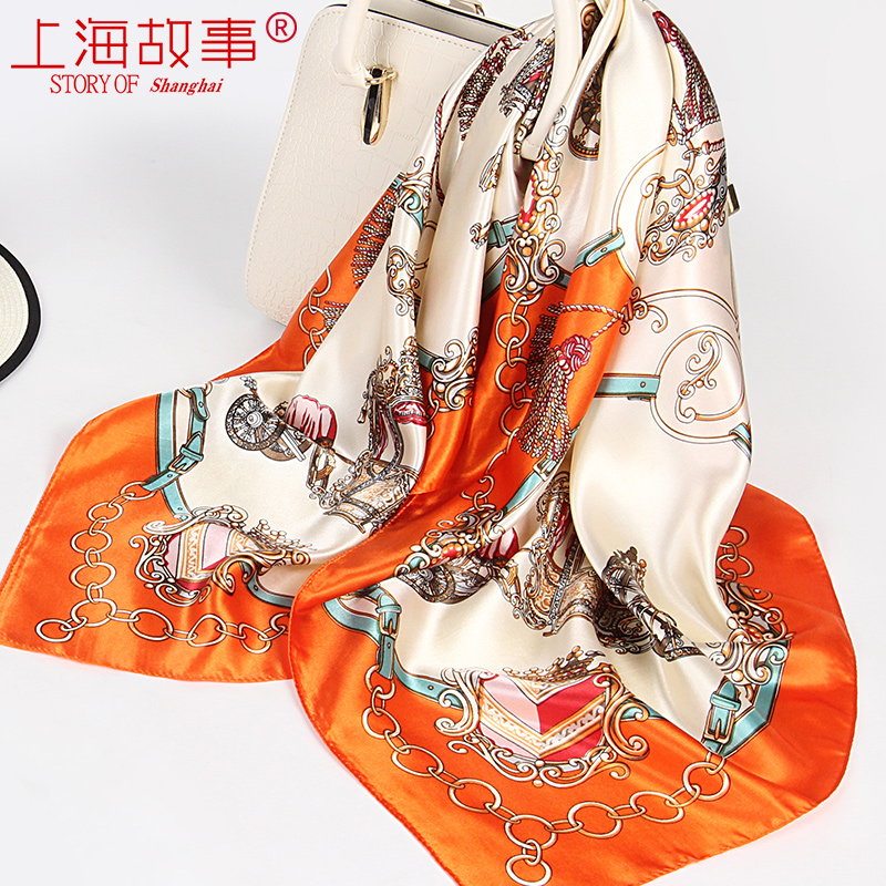 上海故事橘色 仿90x90cm真丝大方巾正方形小丝巾女四方围巾秋冬季