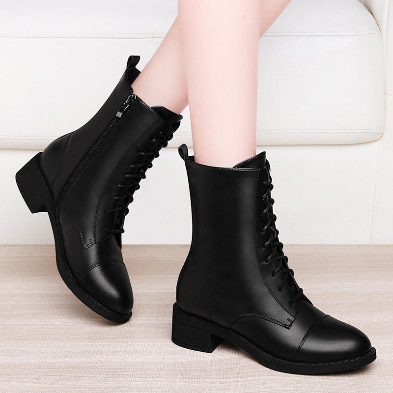 Martin boots women 2021 new British WindNet red thin shoes leather autumn and winter Plush with short boots for skirt
