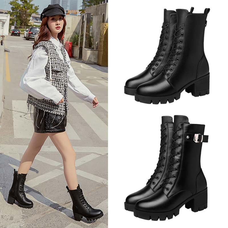 Martin boots womens 2021 new spring Plush small medium boots, versatile thin short boots with skirt