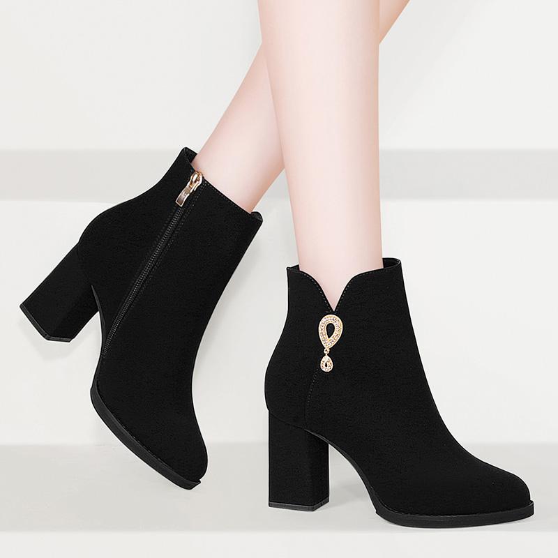 Thick heel short boots childrens 2021 new autumn versatile thin high-heeled zipper Plush Martins with skirt