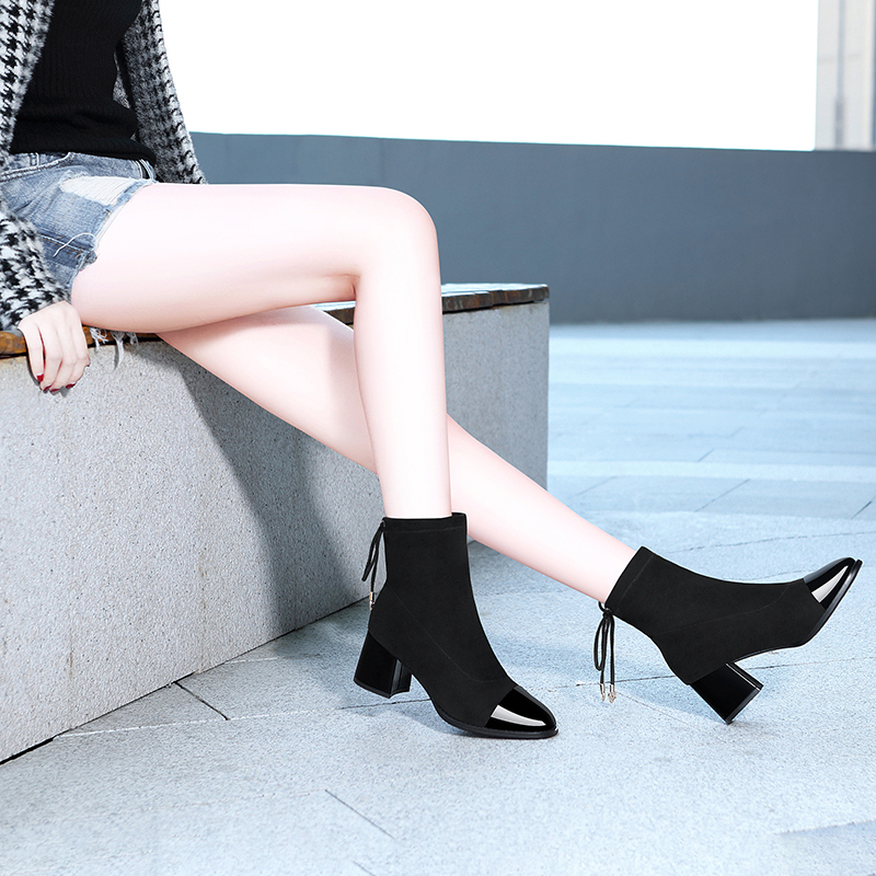 Short boots female 2021 spring new Korean version versatile net red thick heel thin autumn and winter thin small heel boots high heels