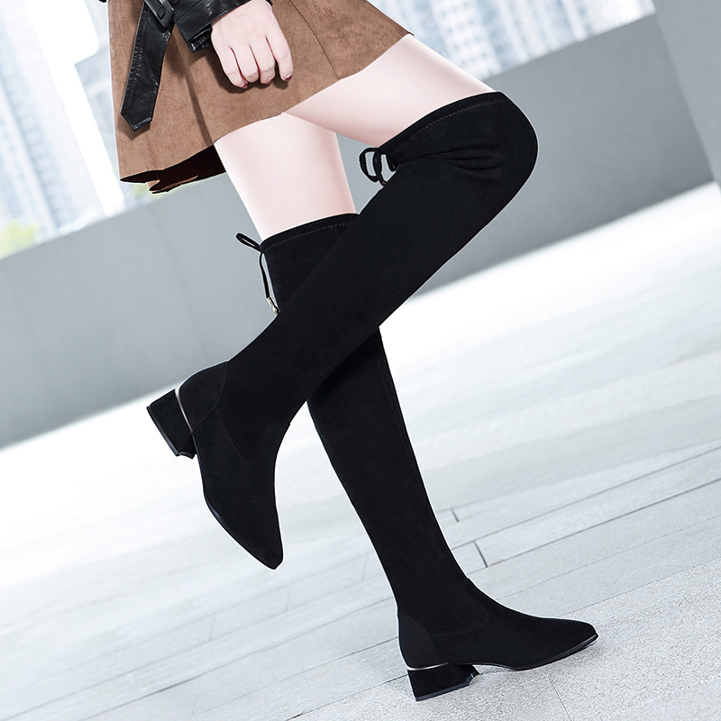 Long boots womens over knee 2021 spring and autumn new net red thin boots pointed flat bottom elastic Plush high boots
