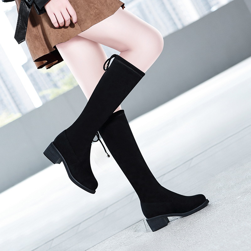 Long boots womens 2021 spring new Korean lace up Plush versatile thick heel below knee high net red thin boots