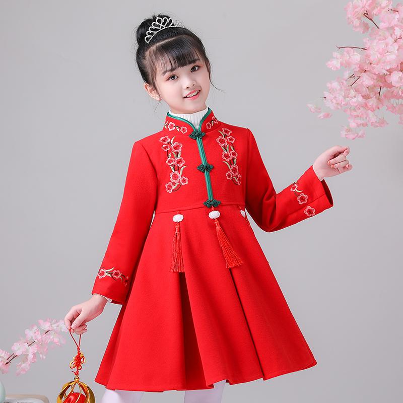 汉服女童拜年服棉衣儿童中国风过年喜庆春节冬装女宝宝古装唐装冬