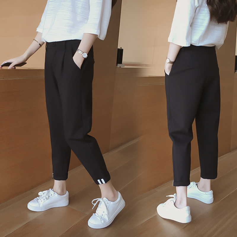 Spring and autumn 2020 large size slim tapered casual suit pants womens Korean high waist pants Harem Pants Small foot fashion