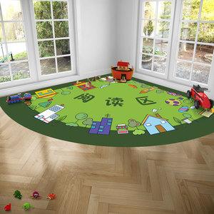 幼儿园地毯 半圆阅读图书角地垫 早教中心绘本馆拖鞋处定制logo垫