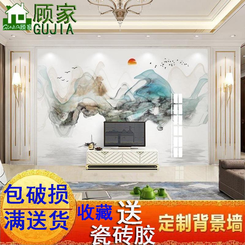 電視背景墻瓷磚新中式水墨畫現代簡約輕奢3D微晶石雕刻拼花墻磚