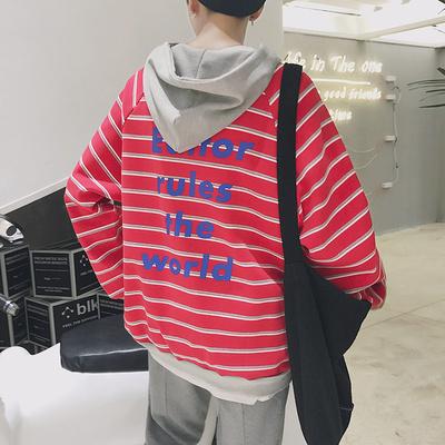 A437-W188-P100 秋上新加厚加绒学生后背个性字母连帽卫衣男