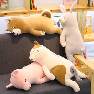 柴犬趴趴狗毛绒玩具女生抱着睡觉的布娃娃公仔可爱萌女孩韩国抱枕