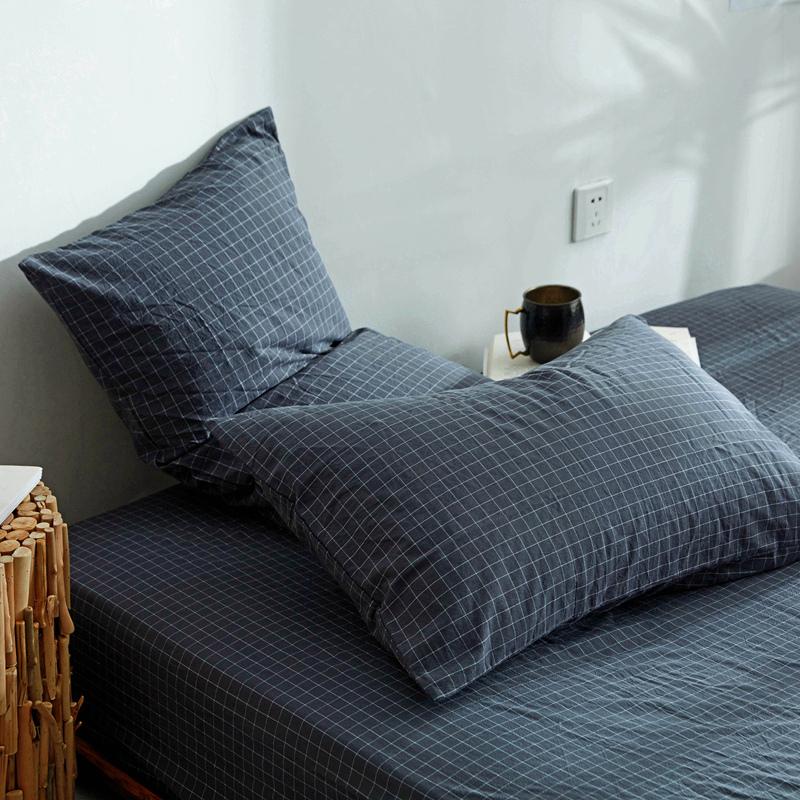 纯棉枕套一对装单人双人条纹格子枕芯罩家用加厚全棉水洗棉枕头套