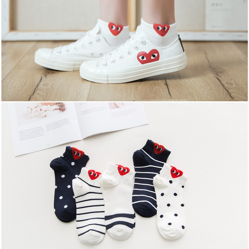 Spring and summer new products Chuanjiu cotton three-dimensional ears red love stripe boat socks lovely college versatile womens socks thin