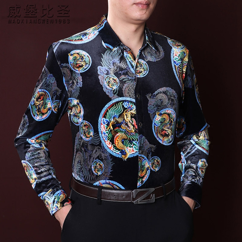 Weibo Beattie gold velvet shirt mens long sleeve loose large size autumn and winter Chinese wind dragon shirt mens clothing
