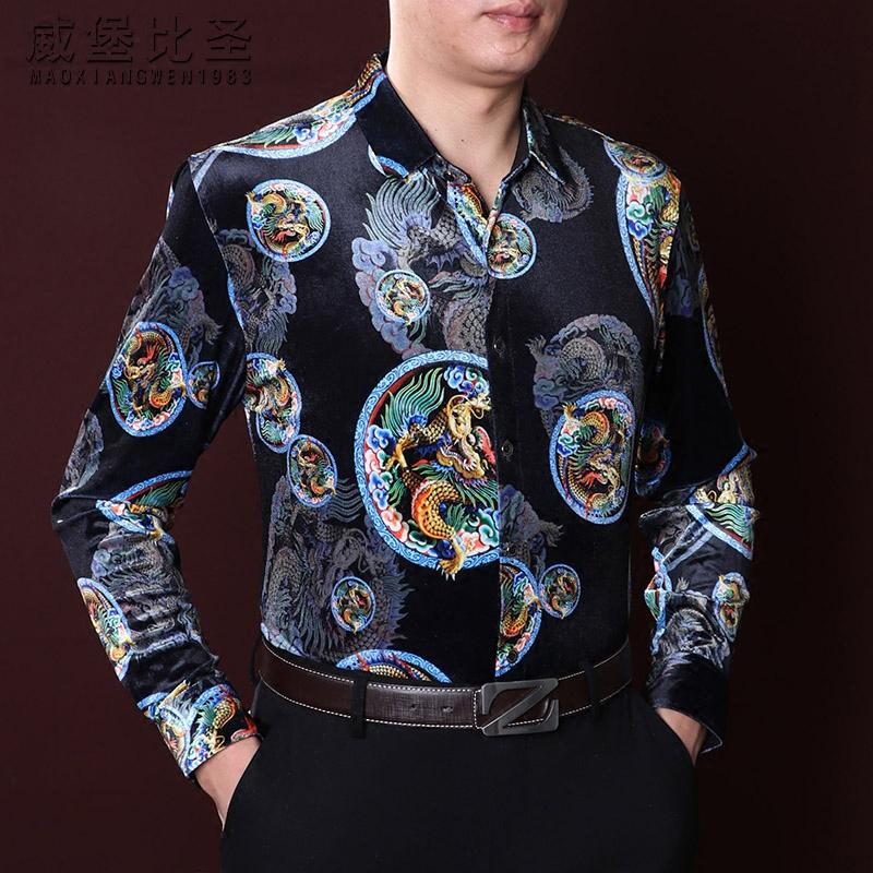 威堡比圣 金丝绒衬衫男长袖宽松大码秋冬季中国风龙衬衣男装衣服