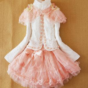 衣纯布道品牌童装女童春秋季套装公主韩版高档蕾丝长袖三件套裙子