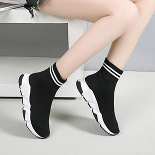 平底运动鞋 透气弹力袜子鞋 百丽辛迪拜2019春款 女百搭韩版 休闲短靴