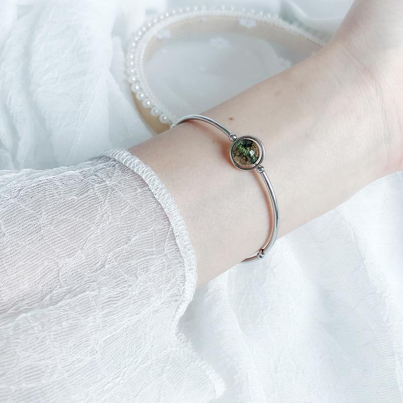 Sterling Silver Bell Bracelet circle green ghost elastic silver bracelet cornucopia Crystal Silver Bracelet Moonstone for girlfriend
