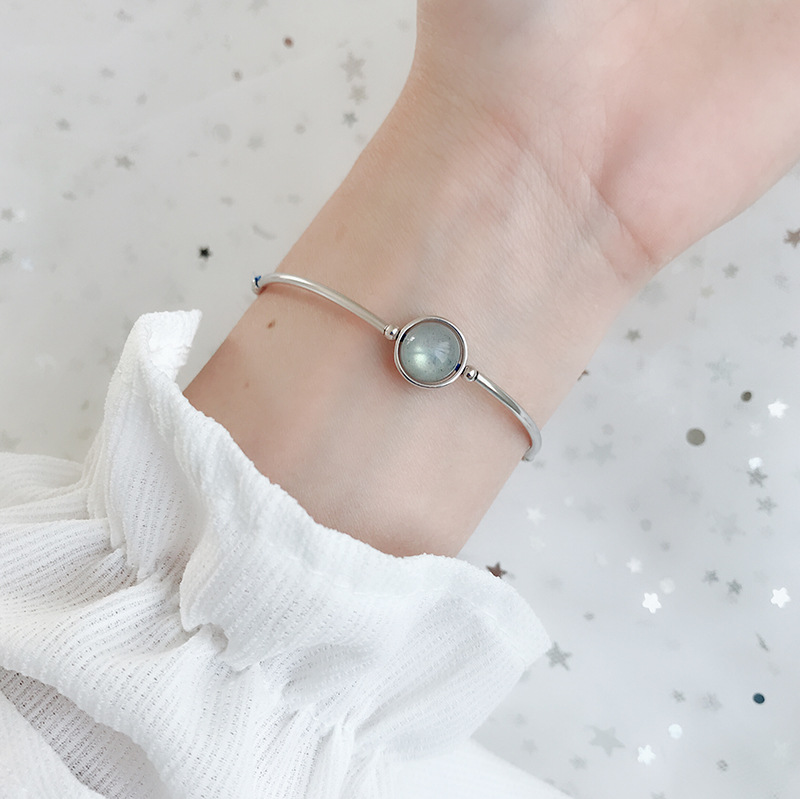 Pure silver bell moonlight Stone Bracelet Korean ins temperament silver bracelet sweet moonlight elongated Stone Silver Bracelet best friend