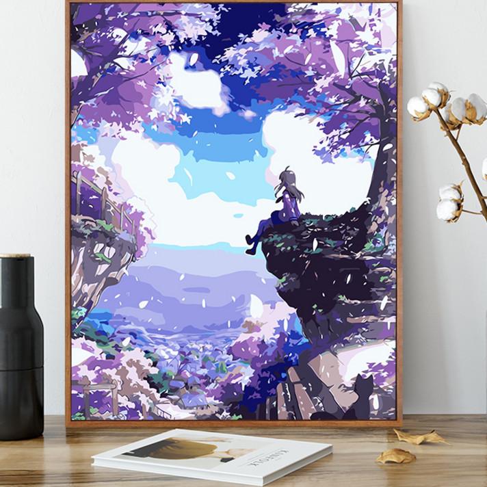 数字油彩画diy风景静物数字油画花卉减压画手绘装饰画樱之花