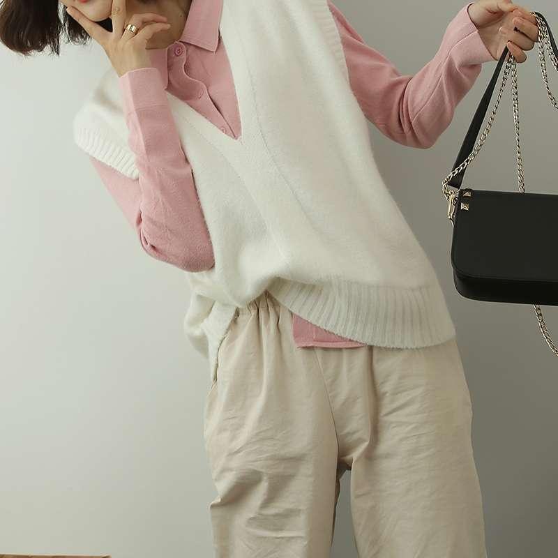 New loose knit shawl wool womens Korean large vest V-neck medium length vest with sweater