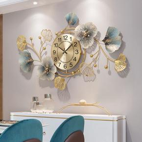 新中式创意钟表客厅餐厅时钟轻奢挂钟挂墙钟饰银杏叶艺术大气挂表