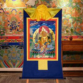 藏村 黄财神唐卡 藏式装裱画心镀金供佛五路财神佛像挂画长120cm