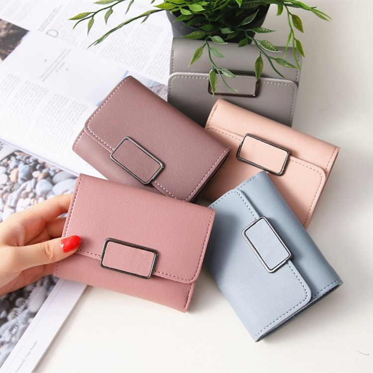9.9 small wallet womens short ins simple 2019 new fashion Mini ultra thin wallet hand folding zero wallet