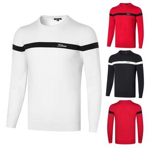新款高尔夫服装男透气速干圆领毛衣休闲时尚潮流运动毛针织衫上衣