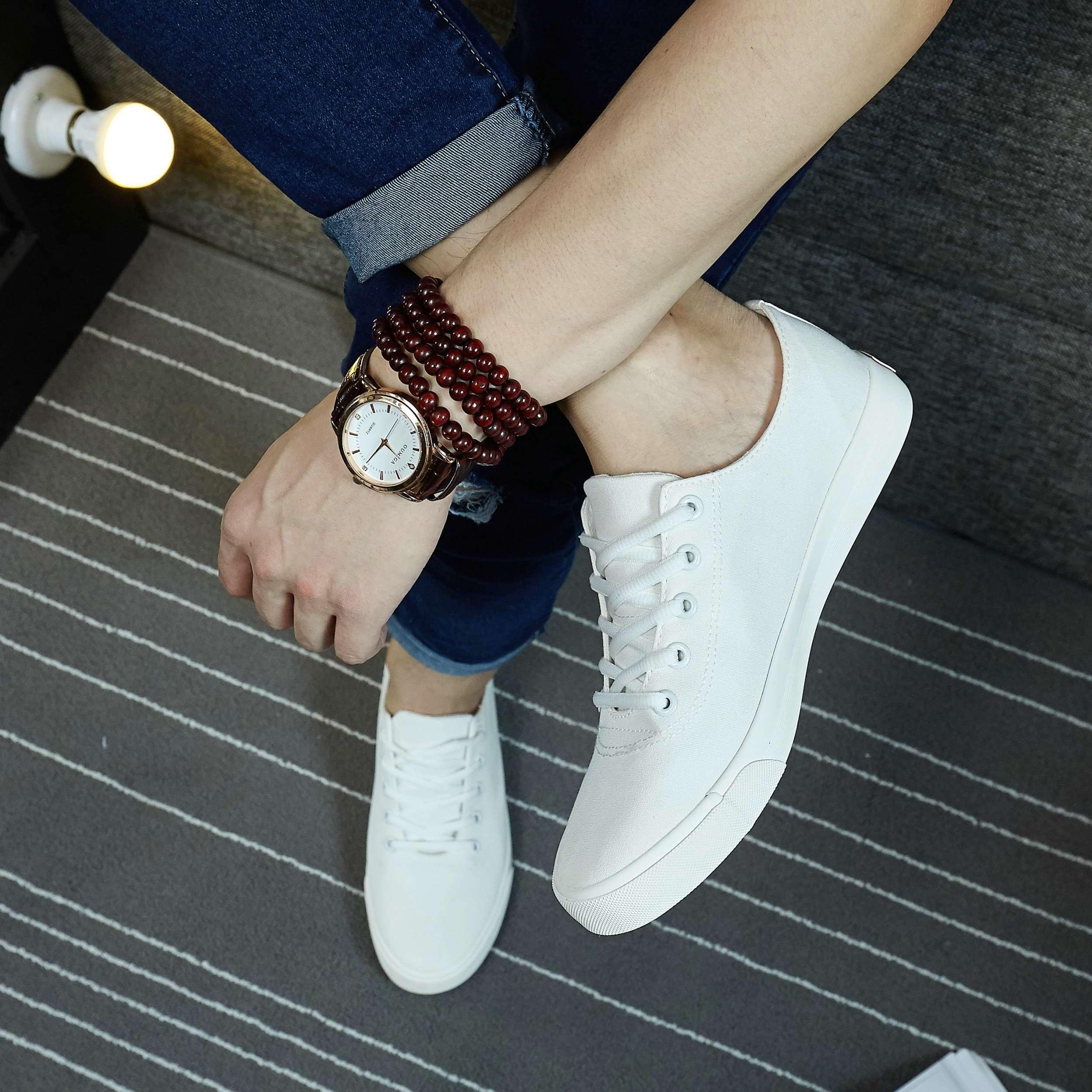 夏季新款纯色帆布鞋男时尚板鞋低帮系带男鞋青年韩版透气布鞋 男