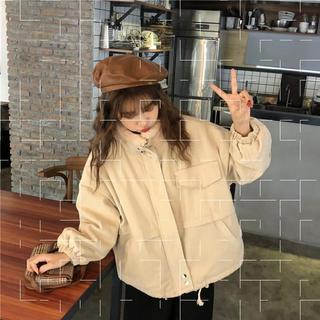 外套2020新款女装秋冬季百搭韩版宽松加绒加厚小个子工装棉服上衣