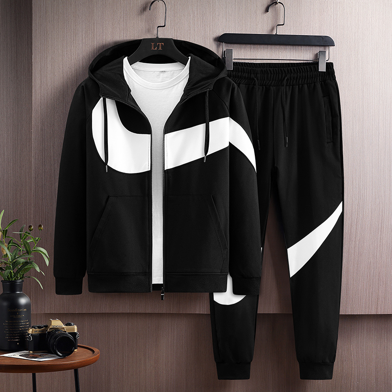 Mens leisure sports cardigan hooded sweater fashion fashion fashion handsome suit pants two piece set