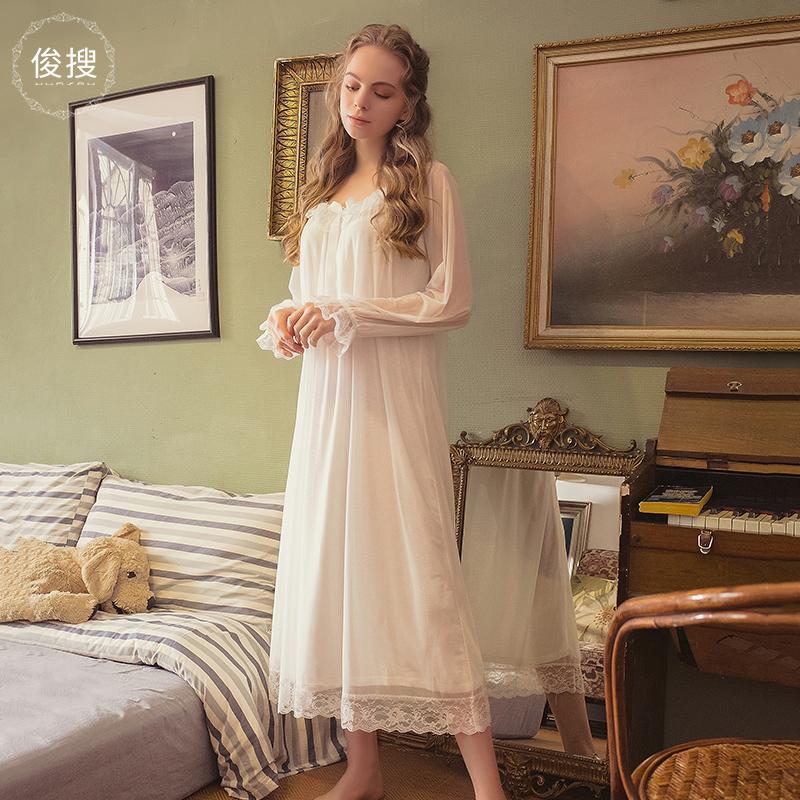 俊搜睡裙夏季薄款公主性感宫廷复古长袖宽松甜美可爱仙女风睡衣女