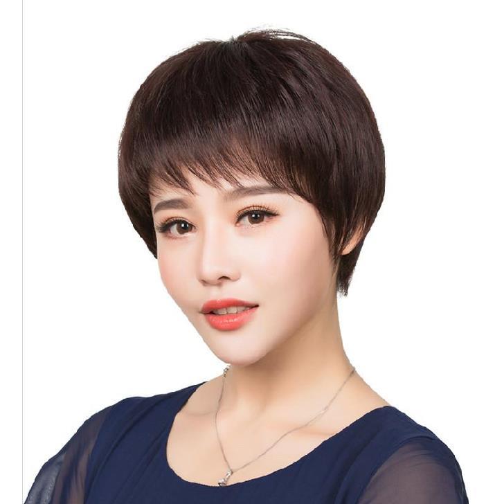 Elderly wig female short hair short hair temperament big wave hair headdress natural melon seed face simple short hair slant